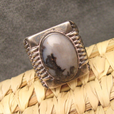 Vintage Sterling Ring Landscape Agate Gray Black Mens Jewelry
