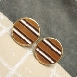 Large Striped Enamel Cufflinks Browns Vintage Jewelry