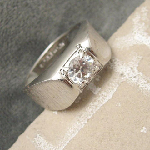 Vintage Sterling Ring Solitaire CZ Mens Jewelry
