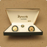 Swank Dynasty Cufflinks Tie Tack Set Initial H Original Box