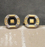 Vintage Cufflinks Rhinestone Two Tone Accessories