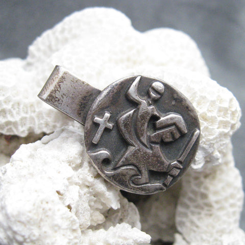 Vintage James Avery Sterling Tie Clip St. Christopher