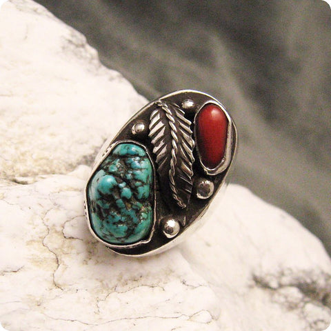 Turquoise Coral Sterling Ring Southwestern Vintage