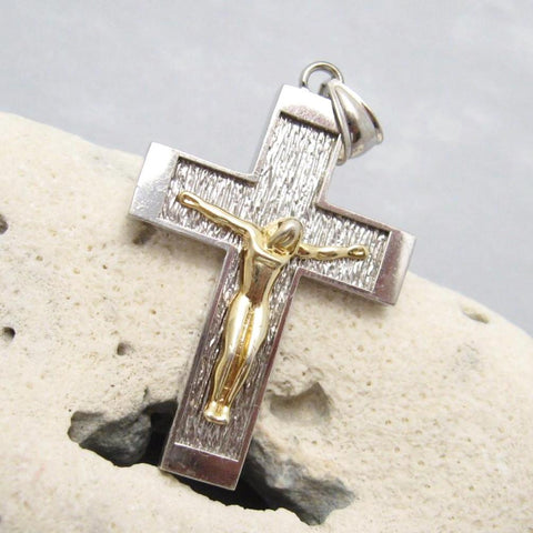 Vintage Crucifix Pendant Sterling Jewelry