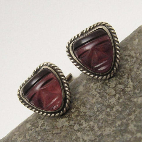 Vintage Sterling Cufflinks Purple Glass