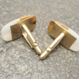 Large Vintage Cufflinks Wood Lucite Jewelry