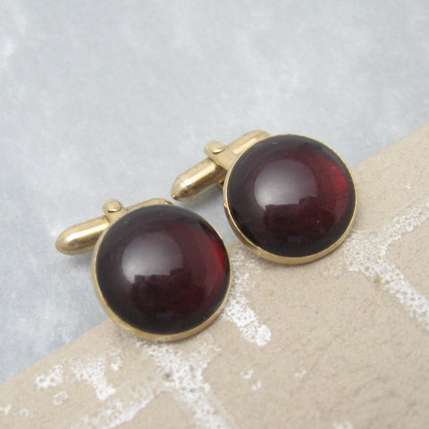Vintage Red Cufflinks Swank Jewelry H