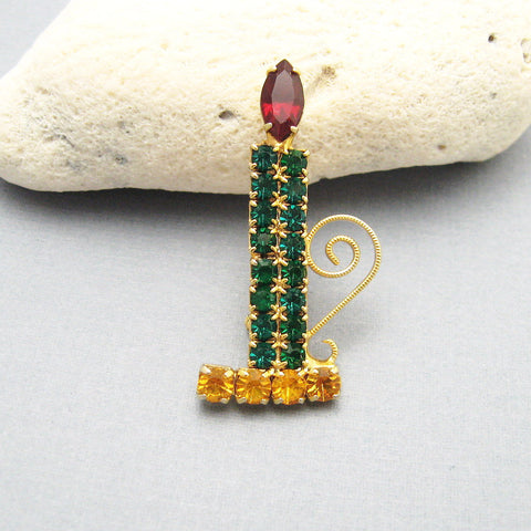 Rhinestone Christmas Candle Brooch Vintage Jewelry