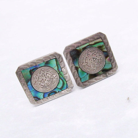 Sterling Cuff Links Paua Shell Vintage Jewelry