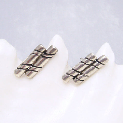 Sterling Cufflinks Unique Striped Bars Vintage Mens Jewelry