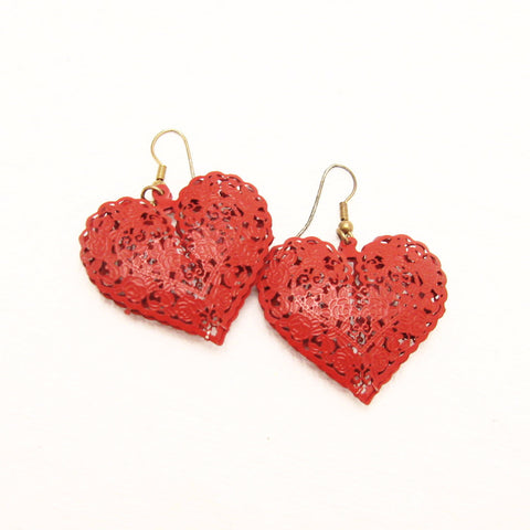 Vintage Red Heart Earrings Valentines Day