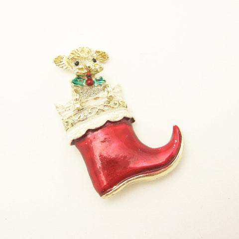 Vintage Christmas Stocking Brooch Dog Jewelry