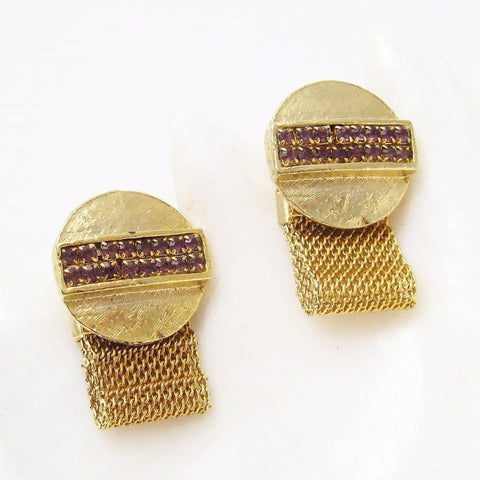 Vintage Rhinestone Cufflinks Mesh Wraparound Men's Jewelry