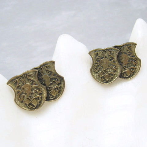 Vintage Cufflinks Double Shield Armor Men's Jewelry