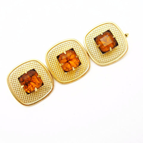 Vintage Rhinestone Button Studs Large Set of 3