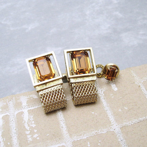 Rhinestone Cufflinks Tie Tack Set Golden Topaz