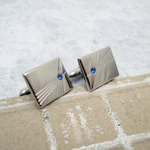 Vintage Cufflinks Tie Clip Set Blue Rhinestone Mens Jewelry