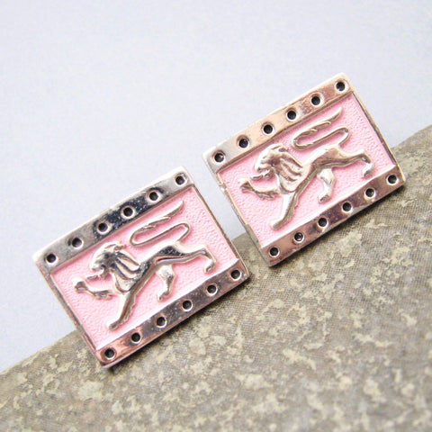 Pink Lion Cufflinks Tie Clip Set Vintage Jewelry