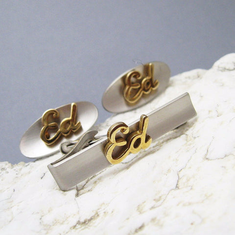 Vintage Cufflinks Monogram Ed Two Tone Swank Accessories