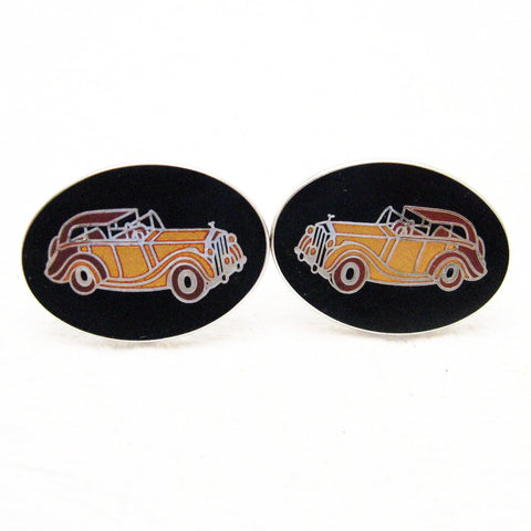 Vintage Cufflinks Enamel Rolls Royce Thirties Car