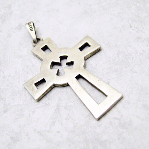 Large Sterling Cross Pendant Vintage Jewelry