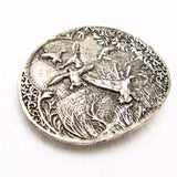 Large Sterling Belt Buckle Flying Birds Pheasant Vintage Accessories