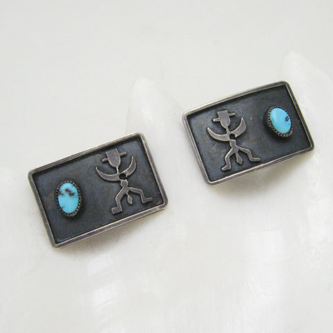Vintage Sterling Turquoise Cufflinks Mens Jewelry