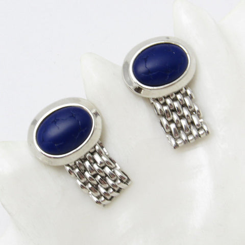 Wraparound Blue Cufflinks Vintage Crackle Stone Men's Jewelry