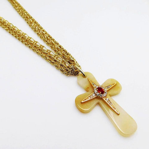 Jackie Kennedy Brazillian Stone Cross Necklace JBK Jewelry
