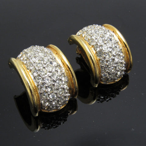 Wide Rhinestone Hoop Earrings KJL Vintage Jewelry