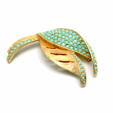 Kramer Vintage Leaf Brooch Blue Glass Jewelry