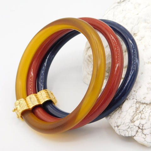 Liz Claiborne Bangle Bracelet Set of Three Lucite Bracelets