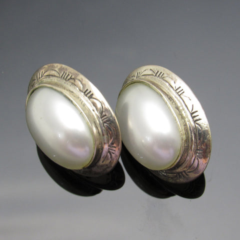 Sterling Oval Pearl Earrings Southwestern Jewelry