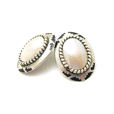 Southwestern Sterling Pearl Earrings 2