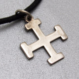 James Avery Sterling Maltese Cross Leather Cord Necklace