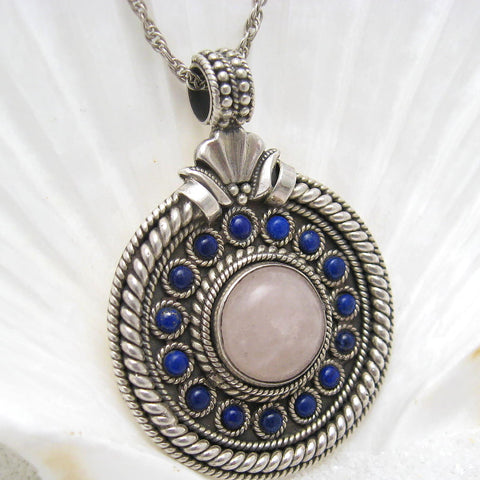 large sterling quartz pendant etruscan jewelry 2