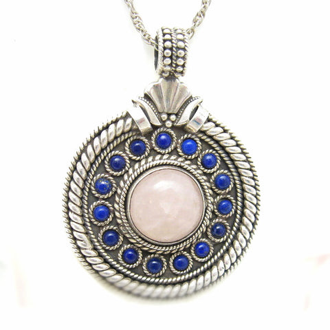 large sterling quartz pendant etruscan jewelry