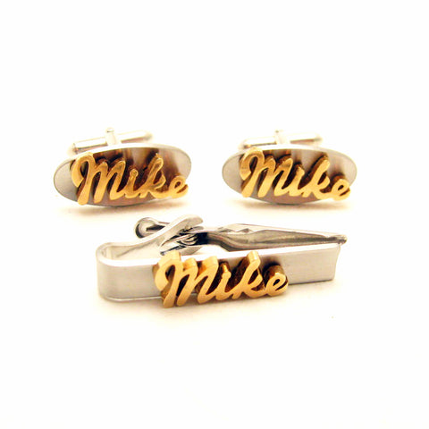 personalized mike cufflinks tie clip