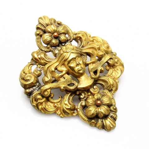 Antique Art Nouveau Stamped Brass Brooch Vintage Jewelry