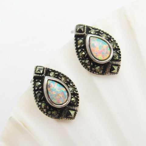 Sterling Marcasite Opal Earrings