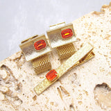 Mesh Wraparound Cufflinks Orange Rhinestone Tie Clip Mens Jewelry Set