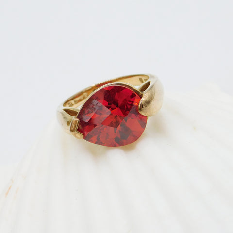 Fiery Orange Red CZ Sterling Ring