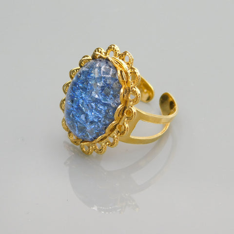 Vintage Blue Crackle Ring, Costume Jewelry Ring, Vintage Ring