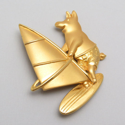 Wind Sailing Pig Brooch JJ Jonette Jewelry