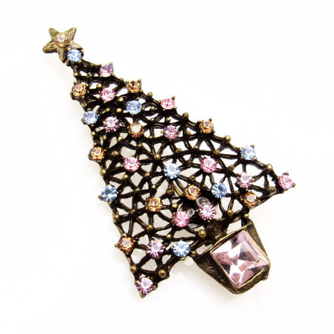 Pastel Rhinestone Christmas Tree Brooch Sweet Romance Jewelry