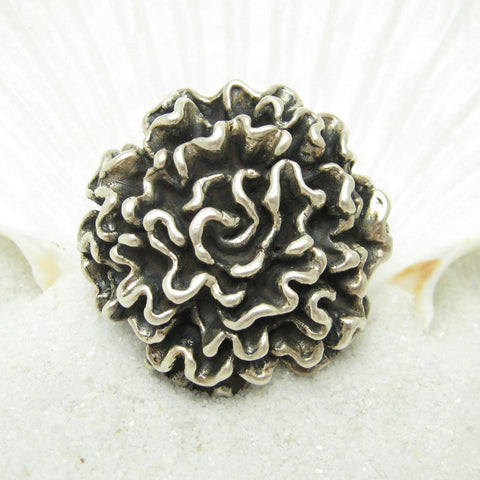 Huge Sterling Flower Mum Ring 2