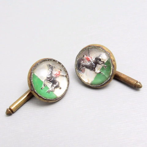 Vintage Button Studs Polo Horse Reverse Painted Glass