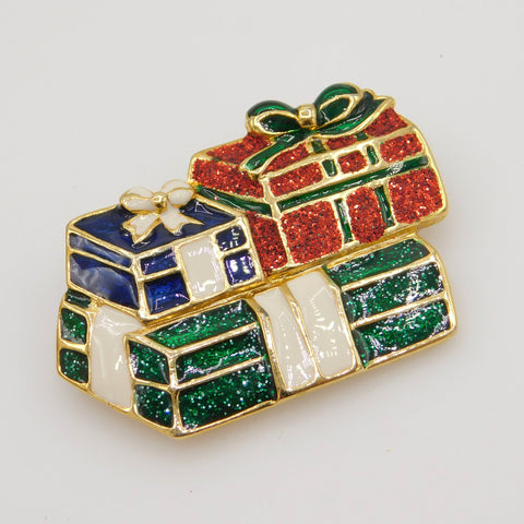 Festive Christmas Present Brooch, Holiday Jewelry