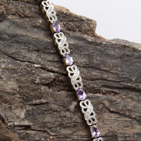 Sterling Amethyst Bracelet Two Tone Jewelry