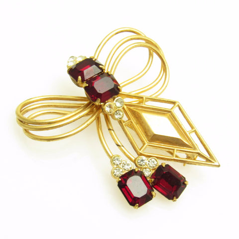 Red Rhinestone Bow Brooch Vintage Jewelry